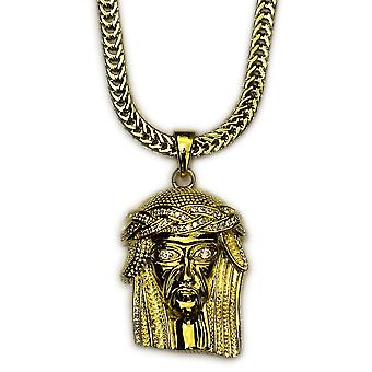 18k Gold Plated Mini Jesus Piece with 30 inch Franco Chain