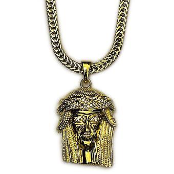 18k guld Plated Mini Jesus Piece med 30 tommer Franco kæde