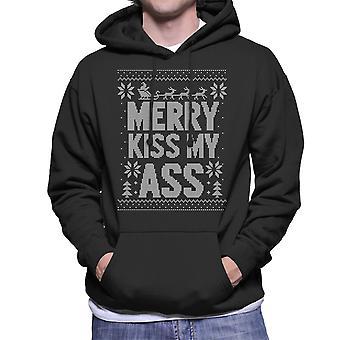 Merry Kiss My Ass Christmas Knit Pattern Men's Hooded Sweatshirt