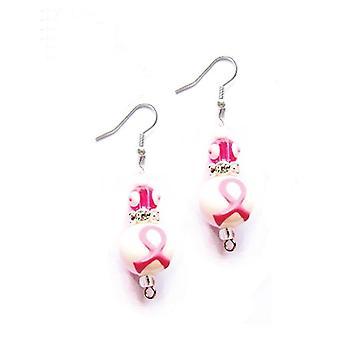 Tror Pink bryst kræft Rhinestone glas perle Kate og Macy øreringe