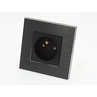 Yo LumoS lujo negro cepillado aluminio marco 16A francés solo toma