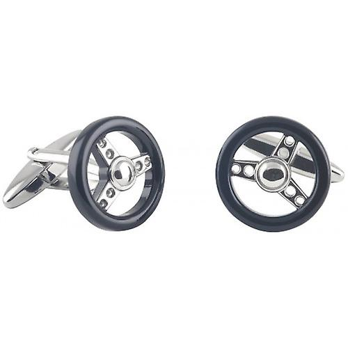 David Van Hagen Steering Wheel Cufflinks - Silver/Black