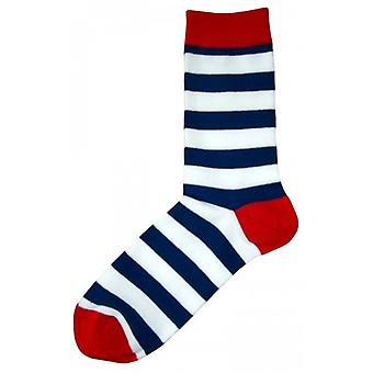 Bassin and Brown Hooded Striped Contrasting Heel and Toe Socks - Navy/White