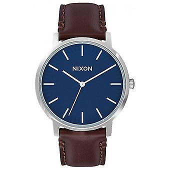 Nixon The Porter Leather Watch - Navy/Brown