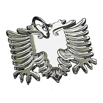 Albanian Eagle in solid 925 Sterling Silver Pendant 30 mm