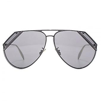 Alexander McQueen Edge Cut Out Aviator Sunglasses In Ruthenium Flash Mirror