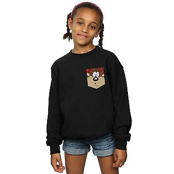 Looney Tunes Girls Tasmanian Devil Face Faux Pocket Sweatshirt