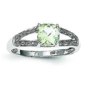 Sterlingsilber Rhodium polierte offen zurück Cushion-Schliff Green Amethyst und Diamant-Ring - Ring-Größe: 6 bis 8