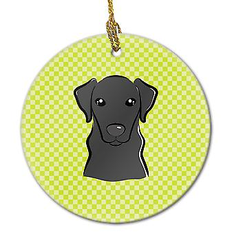 Checkerboard Lime Green Black Labrador Ceramic Ornament