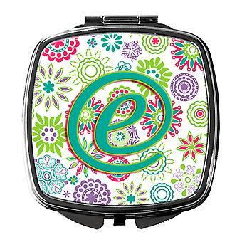 Letter E bloemen roze Teal groen eerste compacte spiegel