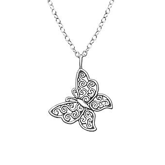 Butterfly - 925 Sterling Silver Plain Necklaces - W32234X