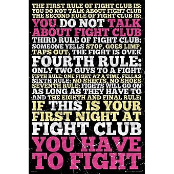 Fight Club - 8 Rules Poster Poster Print