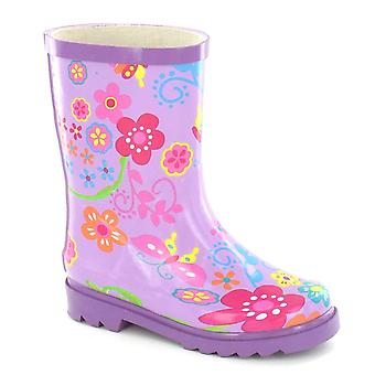 Spot On Childrens Girls Floral Rubber Wellington Boots