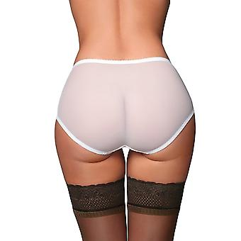 Nylon Dreams NDBSK01 Women's Betty Sheer White Solid Colour Knickers Panty Full Brief