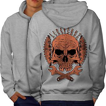 Living Life Biker Skull Men GreyHoodie Back | Wellcoda
