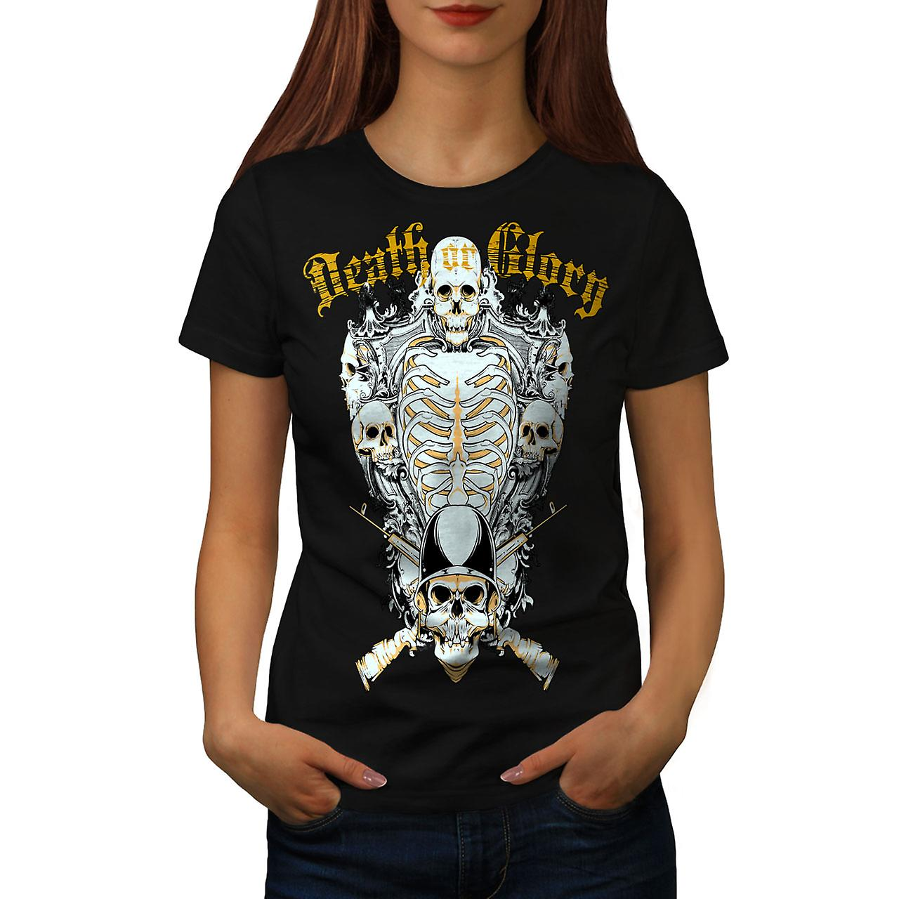 Glory Guns Dead Skull Women Black T-shirt | Wellcoda