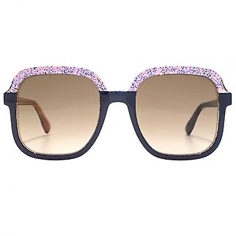 Jimmy Choo Glint Sunglasses In Blue Orange Glitter