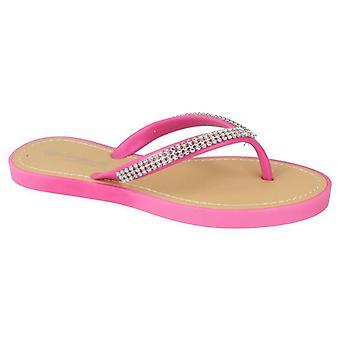Ladies Womens Beach Diamante Toe Post Slip On Mule Sandals Shoes