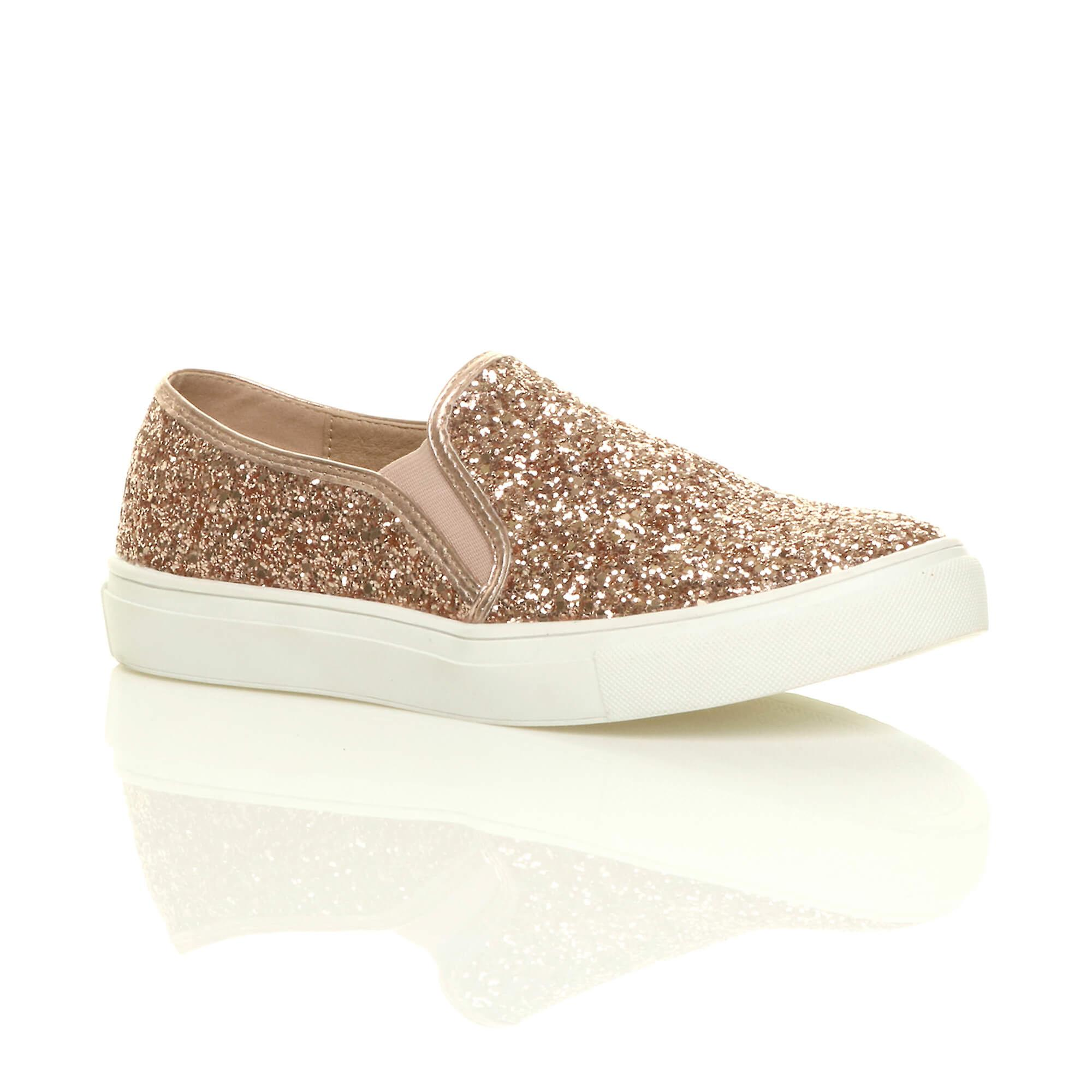 Ajvani womens casual slip on glitter plimsolls trainers skater shoes sneakers