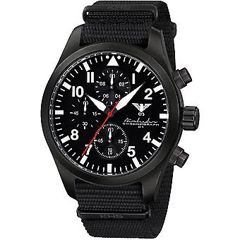 KHS Herrenuhr Airleader black steel chronograph KHS. AIRBSC.NB