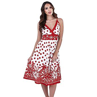 Martildo, Womens Crossover Band Summer Holiday Short Dress with Straps, Martinique Red, Small (UK 8-10)