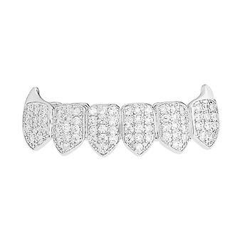 Grillz silver - one size fits all - VAMPIRES cubic ZIRCONIA bottom