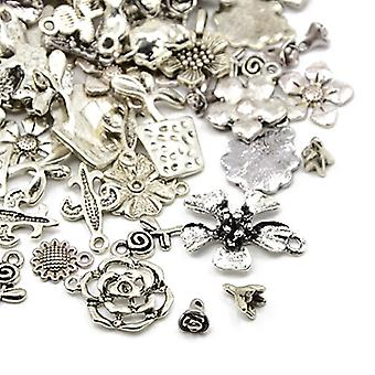 Packet 30 Grams Antique Silver Tibetan 5-40mm Flower Charm/Pendant Mix HA07045