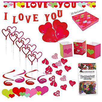 Heart party set XL 61-teilig I love you love party decoration party package