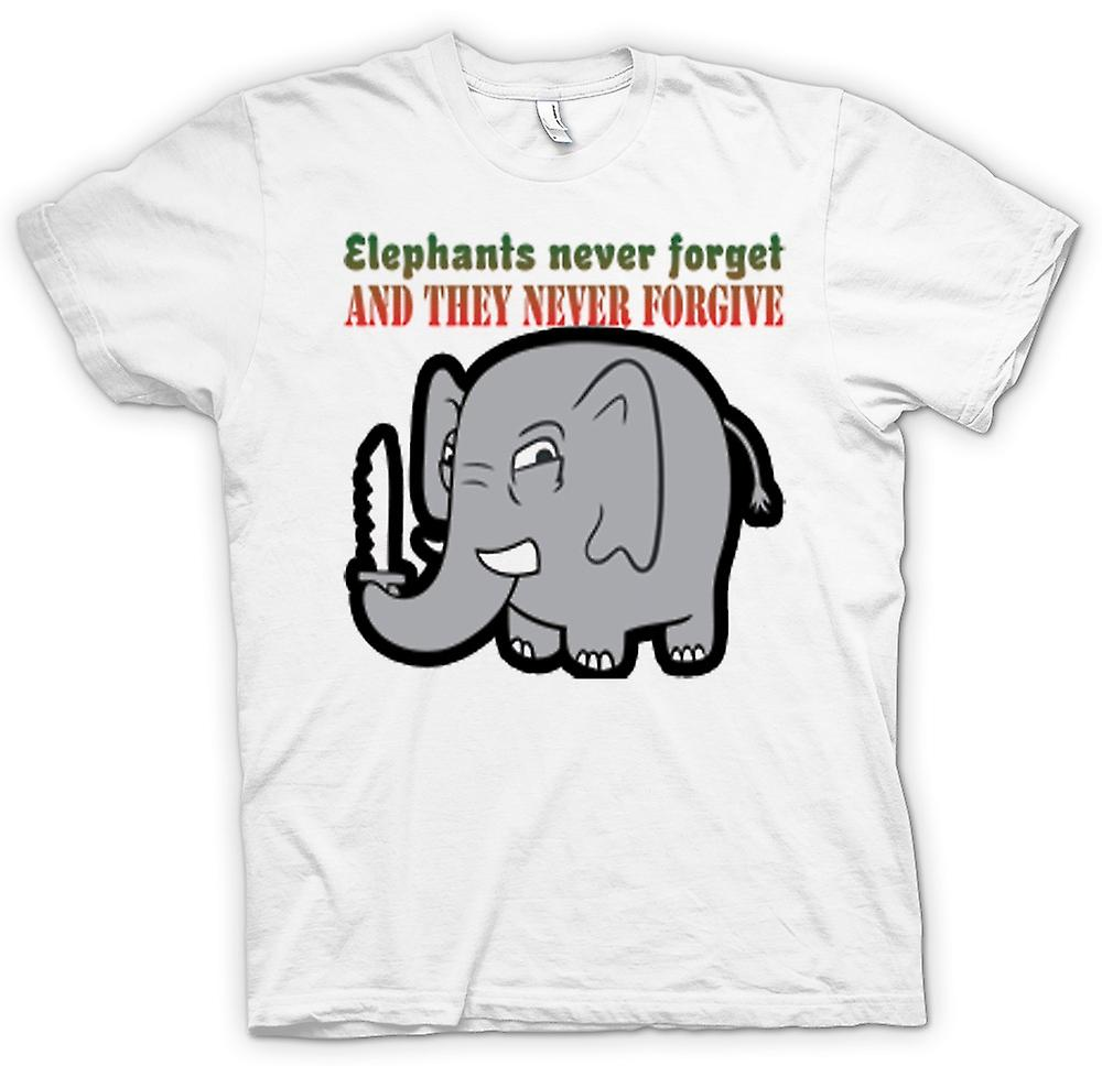 Womens T-shirt - Elephants never forget & they never forgive