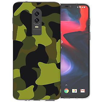 OnePlus 6 Green Camouflage TPU Gel Case