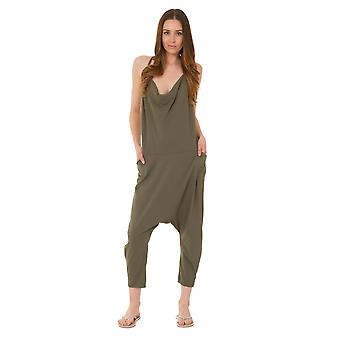Jersey Jumpsuit - Green Drop Crotch Lightweight Stretch Relaxed Fit Playsuit