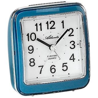Atlanta 1772/5 alarm clock quartz analog blue quietly without ticking with light Snooze