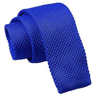 Royal blå stickad smal slips
