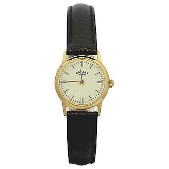 Rotatorio 9ct oro mujeres caso cuero correa LS11476/03 reloj