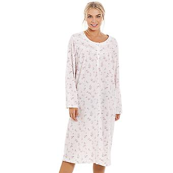 Camille Womens Classic Pink Rose Print Long Sleeve Nightdress