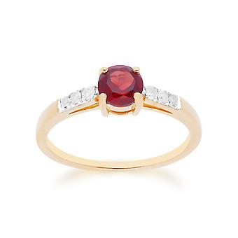 Gemondo 9ct Yellow Gold Moçambique Garnet & Diamond runt skär Ring