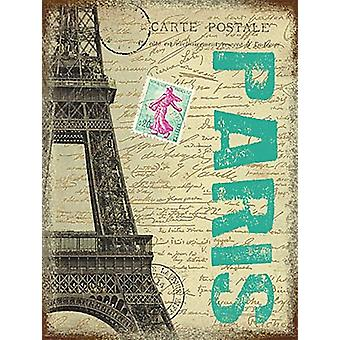 Paryż Wieża Eiffla małe metalowe Zarejestruj 200 X 150 Mm