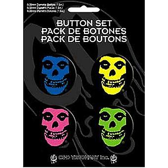 Misfits multifarvet Logo 4 runde Pin Badges i Pack