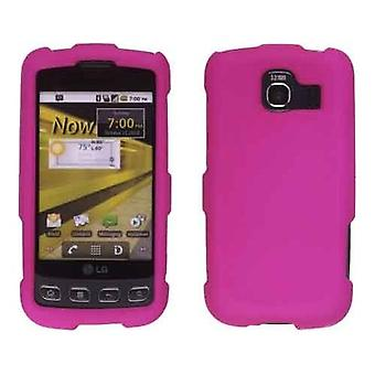 Two piece Soft Touch Snap-On Case for LG Optimus S LS670, Optimus U US670 - Pink