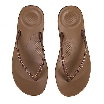 FitFlop FitFlop kvinnors Iqushion Crystal Flip Flops (brons)