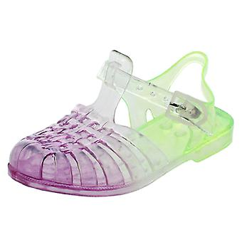 Girls Spot On Flat Two-Tone Casual Buckle Strap Jelly Shoes