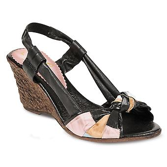 Ladies Knot Front Heeled Leather Sandals Women's Medium Woven Wedge Shoes