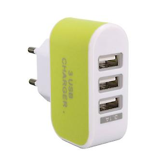 Stuff Certified® 3-pakning Triple (3 x) USB Port iPhone / Android Wall lader laderen AC Green hjem