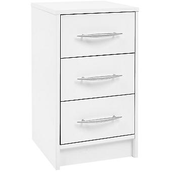 James - 3 Drawer Storage Chest / Bedside Table / Nightstand - White