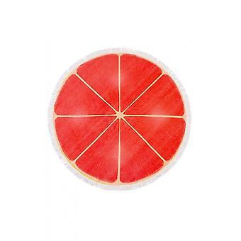 Fringed Pink Grapefruit Slice Round Beach Towel