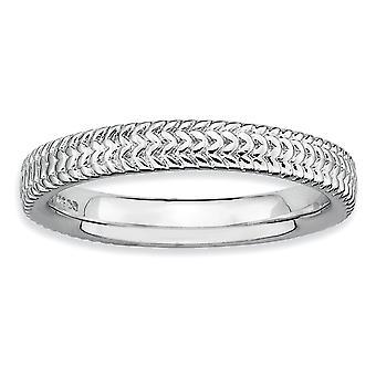 Sterling Silver polerat mönstrade rodium-plated stapelbar uttryck rodium Ring - Ring storlek: 5 till 10