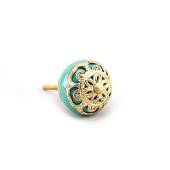 CGB Giftware Turquoise And Brass Filigree Drawer Handle