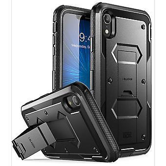 caso del iPhone XR, [Armorbox] [incorporado en el Protector de pantalla] [protección de servicio pesado] [soporte] caso (2018 comunicado) (negro)