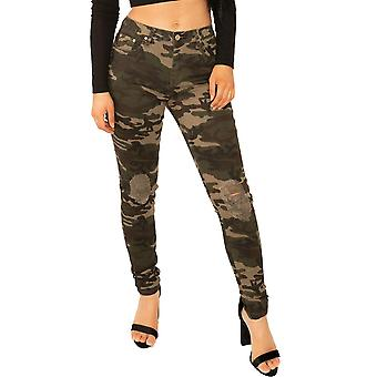 Slim Ripped Camouflage Trousers