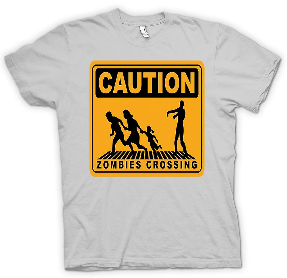 T-shirt des hommes - Attention Zombies Crossing - Drôle